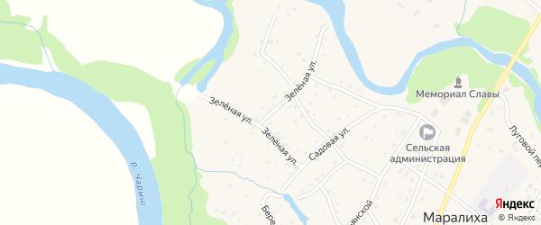 Зеленая улица на карте села Маралихи с номерами домов