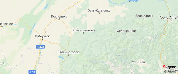 Карта Краснощековского района Алтайского края с городами и населенными пунктами