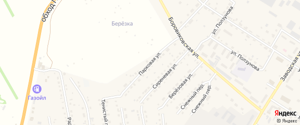 Парковая улица на карте села Павловска с номерами домов