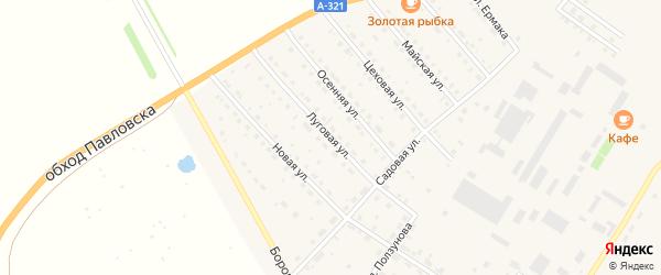 Луговая улица на карте села Павловска с номерами домов