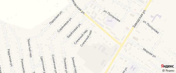 Снежный переулок на карте села Павловска с номерами домов
