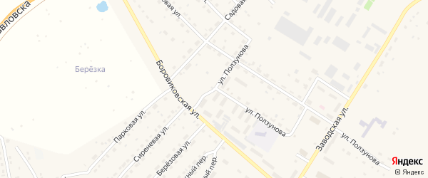 Улица Ползунова на карте села Павловска с номерами домов