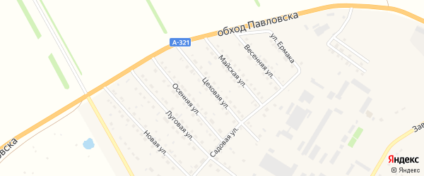 Цеховая улица на карте села Павловска с номерами домов