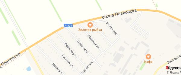 Майская улица на карте села Павловска с номерами домов