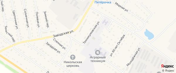 Техникумовская улица на карте села Павловска с номерами домов