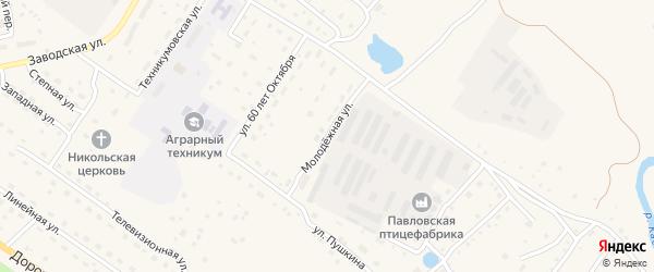 Молодежная улица на карте села Павловска с номерами домов