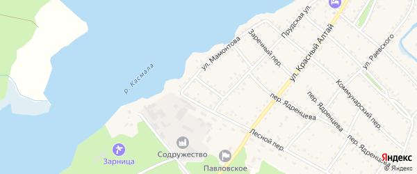 Братский переулок на карте села Павловска с номерами домов