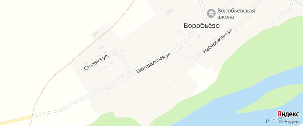 Центральная улица на карте поселка Воробьева с номерами домов