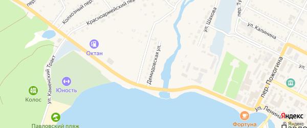Демидовская улица на карте села Павловска с номерами домов