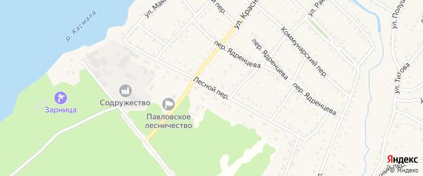 Лесной переулок на карте села Павловска с номерами домов
