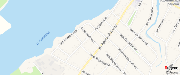 Заречный переулок на карте села Павловска с номерами домов