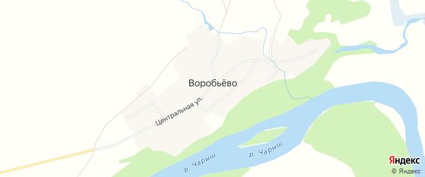 Карта поселка Воробьева в Алтайском крае с улицами и номерами домов
