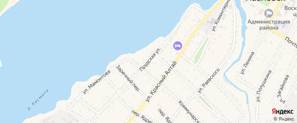 Прудская улица на карте села Павловска с номерами домов