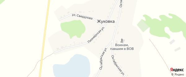 Пионерская улица на карте села Жуковки с номерами домов