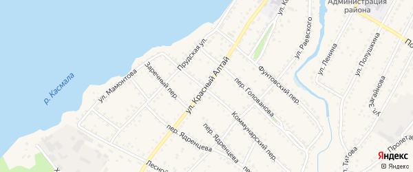 Улица Красный Алтай на карте села Павловска с номерами домов