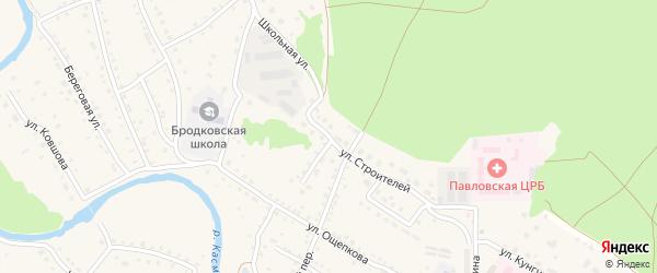 Улица Строителей на карте села Павловска с номерами домов