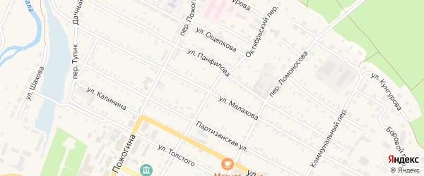 Октябрьский переулок на карте села Павловска с номерами домов