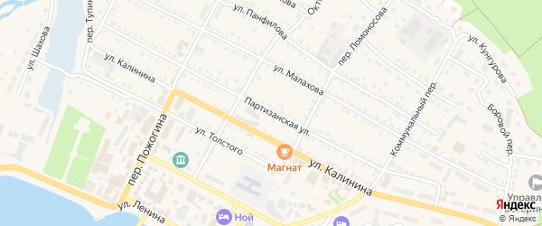 Партизанская улица на карте села Павловска с номерами домов