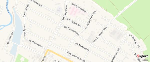 Улица Панфилова на карте села Павловска с номерами домов