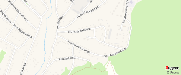Улица Энтузиастов на карте станции Арбузовки с номерами домов