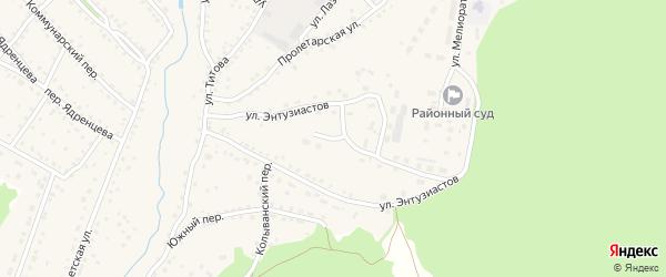 Улица Энтузиастов на карте села Павловска с номерами домов