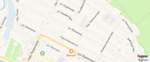 Улица Малахова на карте села Павловска с номерами домов