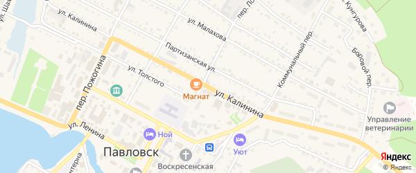 Улица Калинина на карте села Павловска с номерами домов