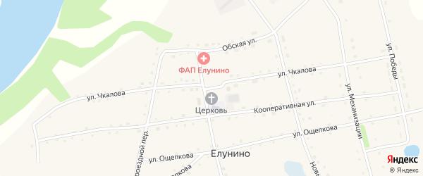 Улица Чкалова на карте села Елунино с номерами домов
