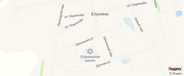 Школьная улица на карте села Елунино с номерами домов