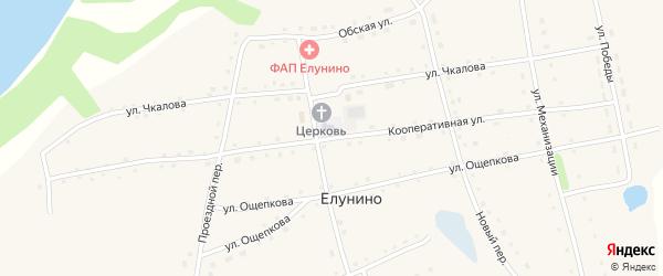 Кооперативная улица на карте села Елунино с номерами домов