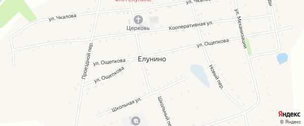 Проездной переулок на карте села Елунино с номерами домов