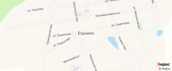 Обская улица на карте села Елунино с номерами домов