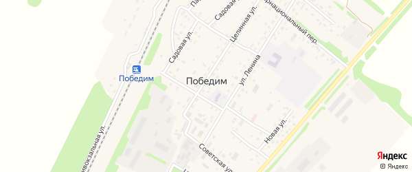 Светлая улица на карте поселка Победима с номерами домов