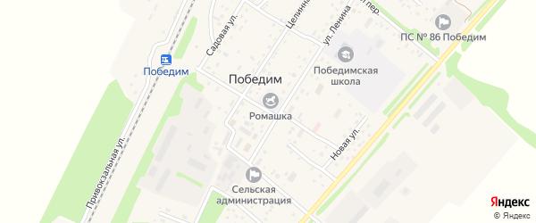 Октябрьский переулок на карте поселка Победима с номерами домов