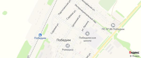 Целинная улица на карте поселка Победима с номерами домов