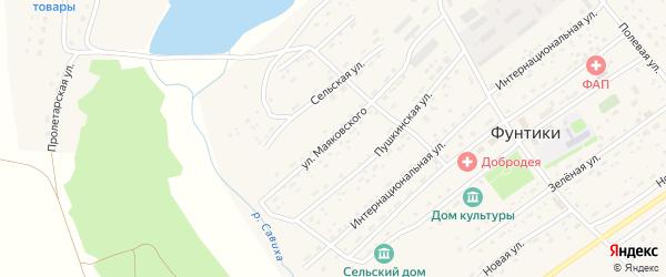 Улица Маяковского на карте села Фунтики с номерами домов