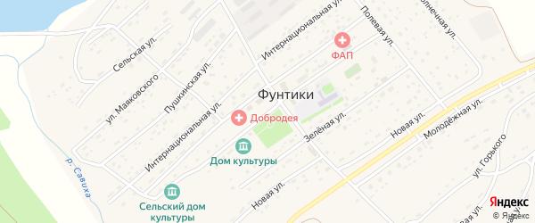 Юбилейная улица на карте села Фунтики с номерами домов