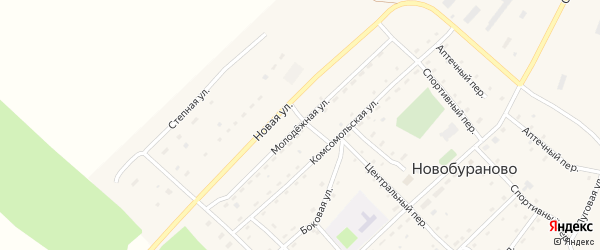 Молодежная улица на карте села Новобураново с номерами домов