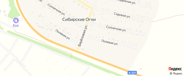 Полевая улица на карте поселка Сибирские Огни с номерами домов