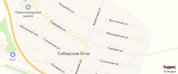 Березовая улица на карте поселка Сибирские Огни с номерами домов