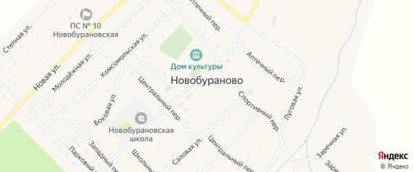 Прудовый проезд на карте села Новобураново с номерами домов