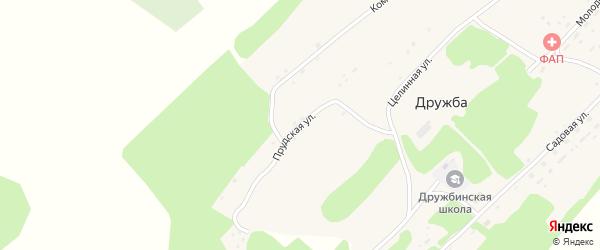 Прудская улица на карте поселка Дружбы с номерами домов