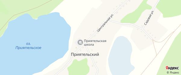 Центральная улица на карте Приятельского поселка с номерами домов