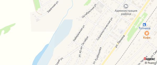 Набережная улица на карте села Топчихи с номерами домов