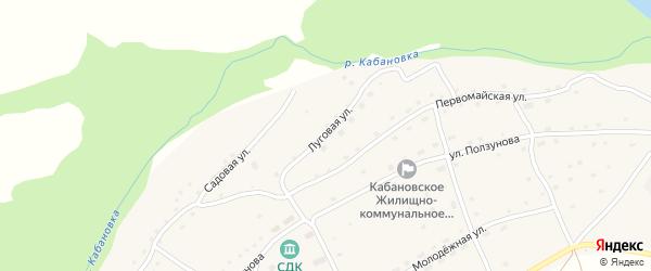 Луговая улица на карте села Кабаново с номерами домов