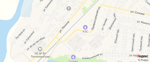 Коммунальная улица на карте села Топчихи с номерами домов