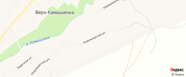 Новомирская улица на карте села Верха-Камышенки с номерами домов
