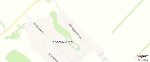Октябрьская улица на карте поселка Красного Мая с номерами домов