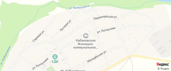 Улица Ползунова на карте села Кабаново с номерами домов