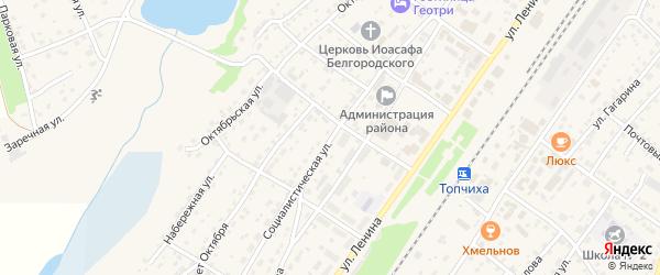 Социалистическая улица на карте села Топчихи с номерами домов
